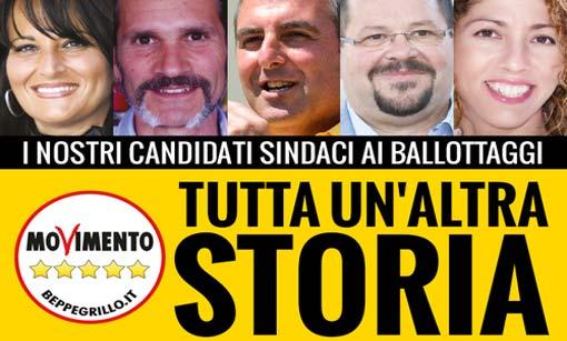 Candidati sindaci M5S ai ballottaggi giugno 2015