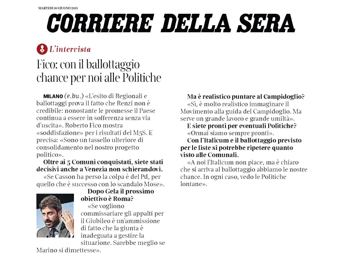 Corriere della Sera 16-06-15 intervista Roberto Fico