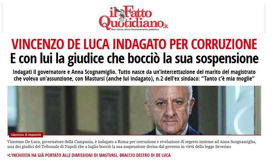 De Luca indagato - Fatto Quotidiano