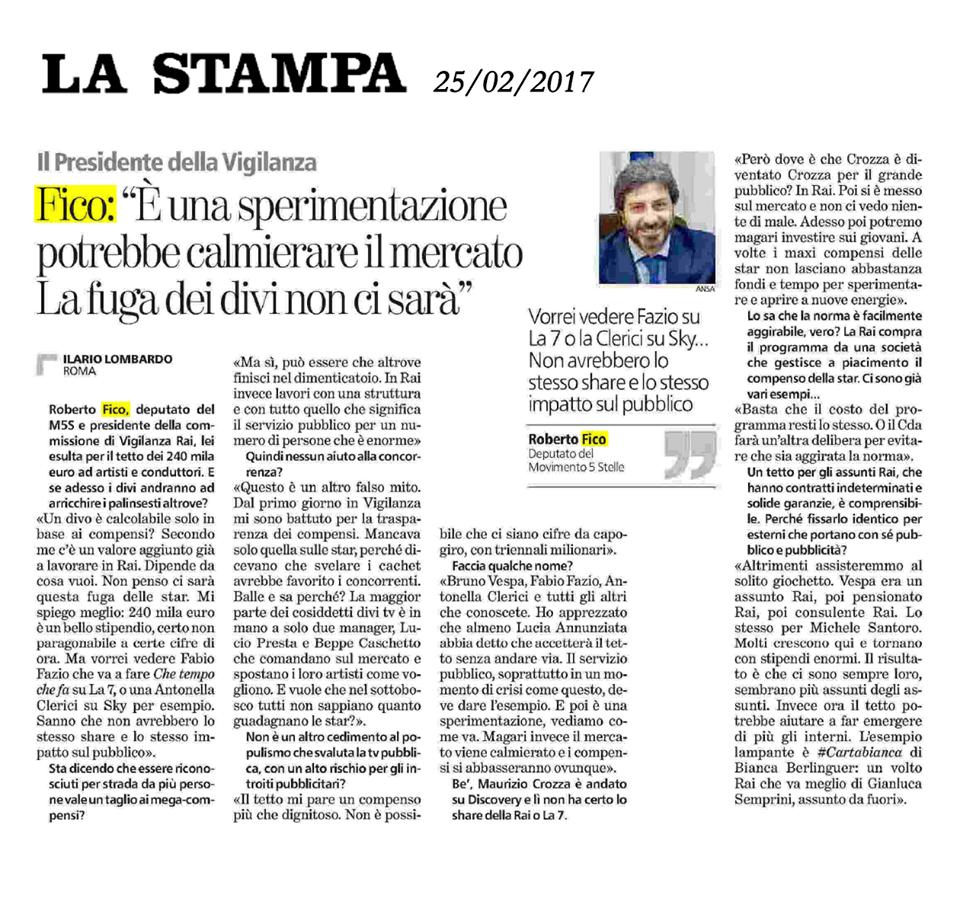 intervista la stampa febbraio 2017 compensi rai star