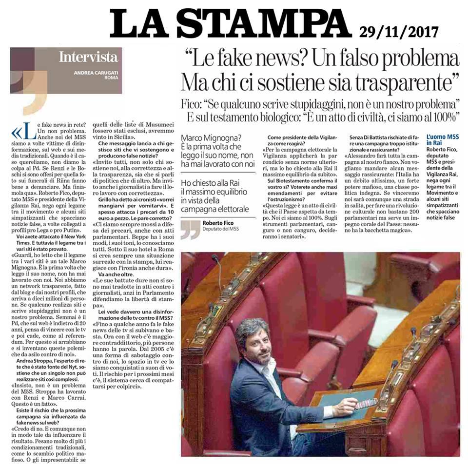 intervista la stampa 29 novembre 2017