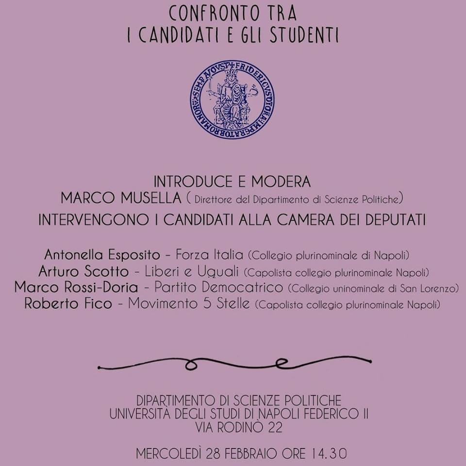 Confronto tra i candidati alla Camera e gli studenti dell'Università di Napoli Federico II