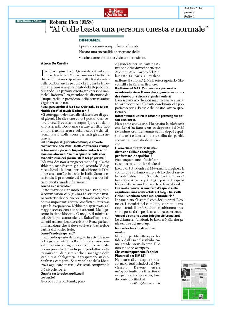 intervista Fatto Quotidiano 30 dicembre 2014