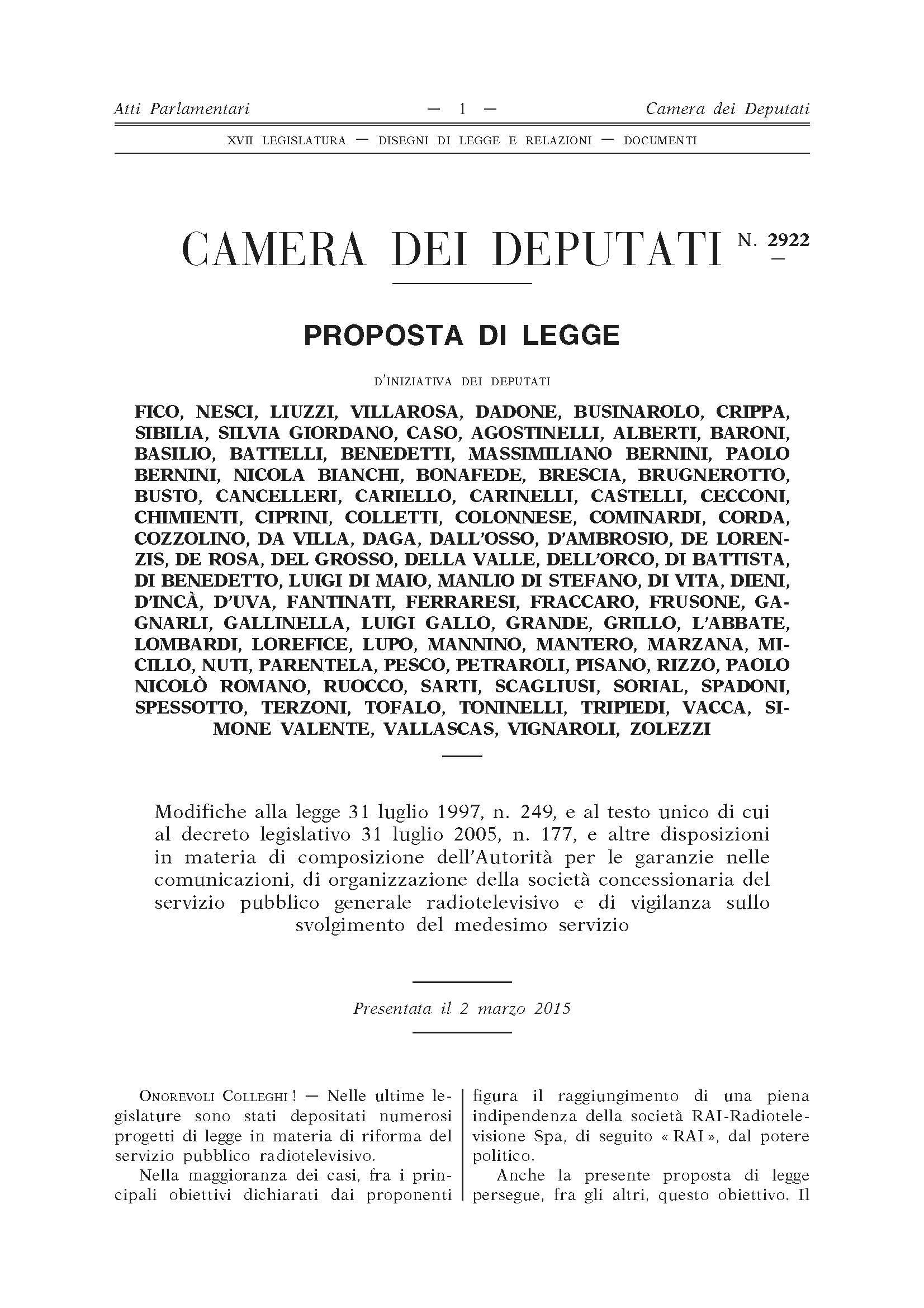 prima pagina legge