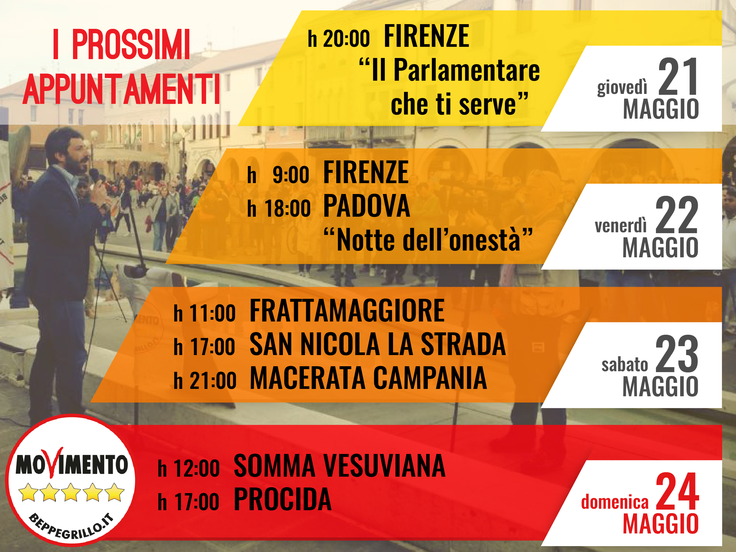 agenda Roberto Fico 21/24 maggio