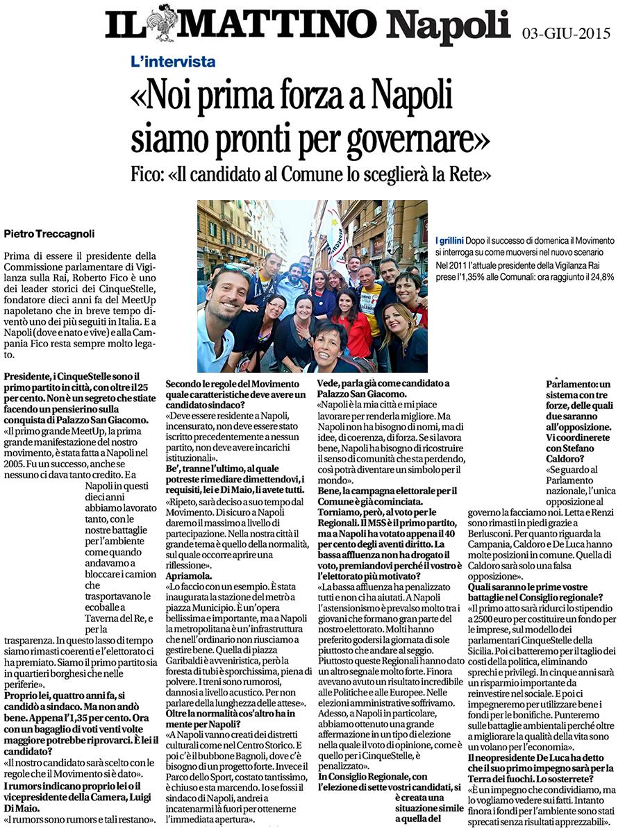il-mattino_03-06-15 - intervista Roberto Fico - Napoli