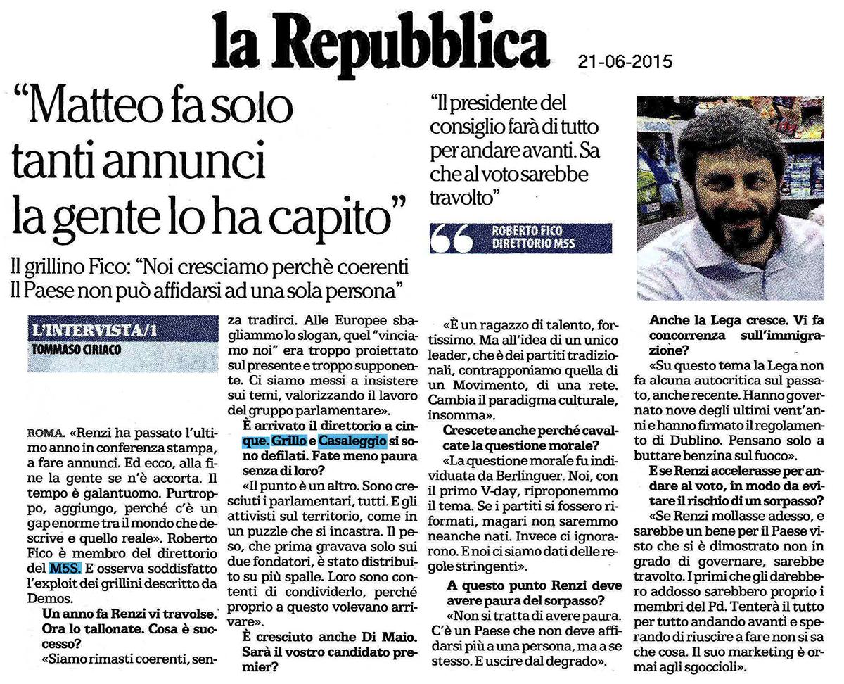 repubblica_21-06-2015_intervista Roberto Fico