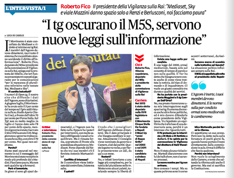 Fatto Quotidiano_settembre 2015_intervista Roberto Fico