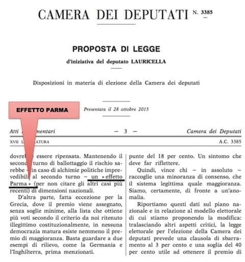 Pdl Lauricella Pd - effetto Parlma